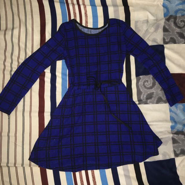 Blue And Black Checkered Dress