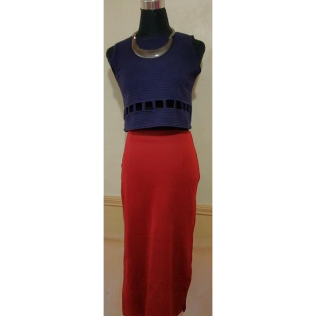 Blue cropped top with red long skirt