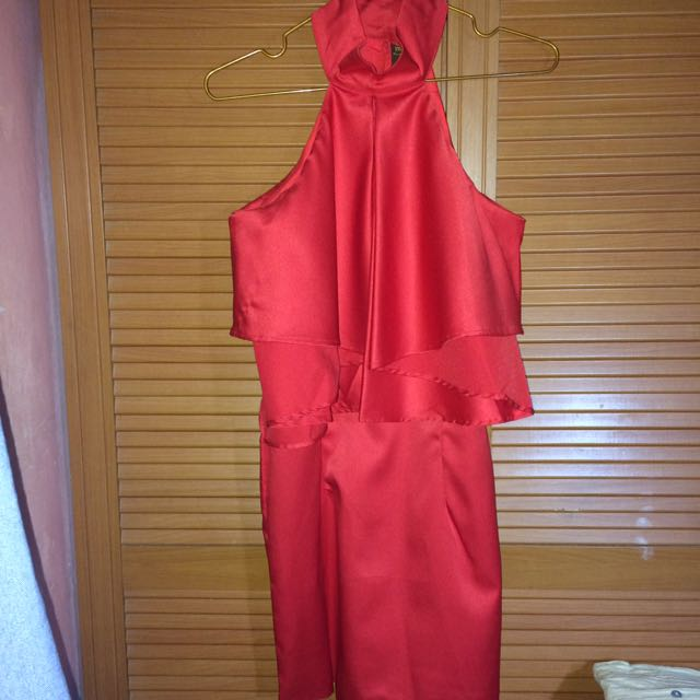 BRAND NEW MAGS RED HALTERED DRESS