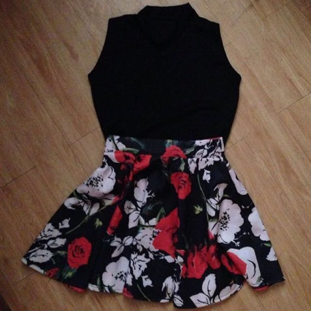 Choker Top And Flower Skirt