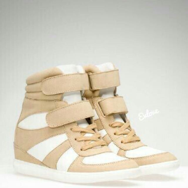 Cream And White Sneaker Wedges