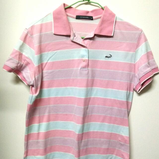 鱷魚牌crocodile 粉色條紋polo衫