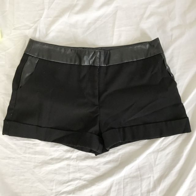 F21 Black Shorts With Leather Deets
