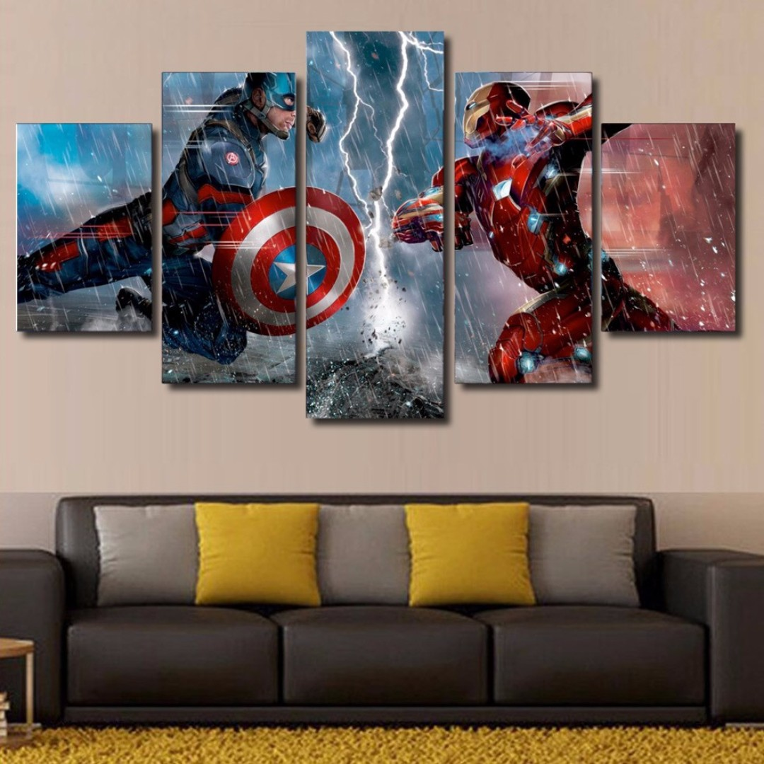 Framed Captain America Civil War Iron Man Movie Canvas Print Poster