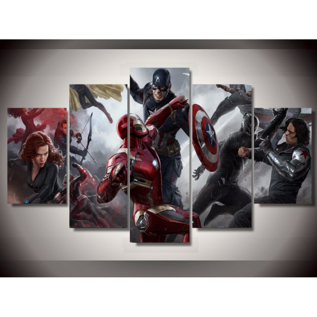 Framed Iron Man Captain America Civil War Avengers Movie Canvas