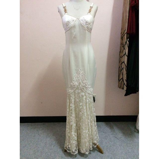 Gaun Pesta Gaun Panggung Putih Glamor Women S Fashion Women S