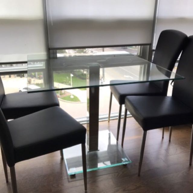 Glass Condo Size Dining Table With 4 Faux Leather Chairs