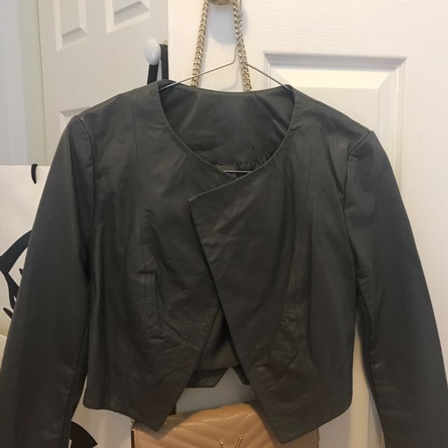 Gray Crop Leather Jacket