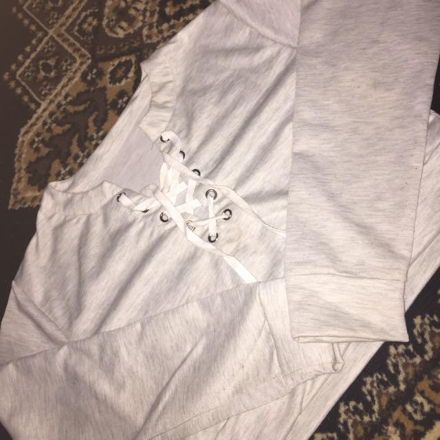 Grey Crop Lace Jumper