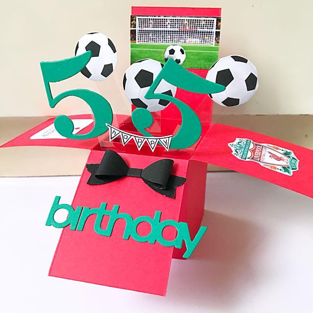 Happy 55 Birthday Liverpool Theme Pop Up Card Design Craft