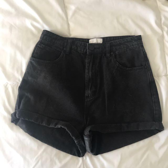 High-waisted Black Denim Shorts Size 10