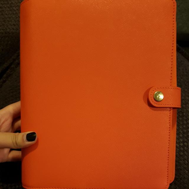 🍑*FREE POST* Kikki.K bright orange leather diary LARGE