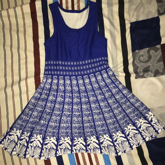Knitted Blue And White Dress