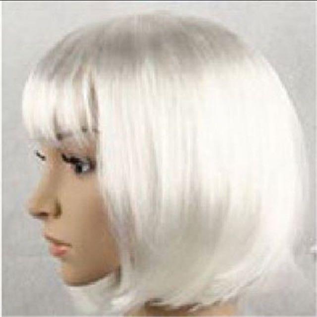 Long Bob Hair Wig Silver