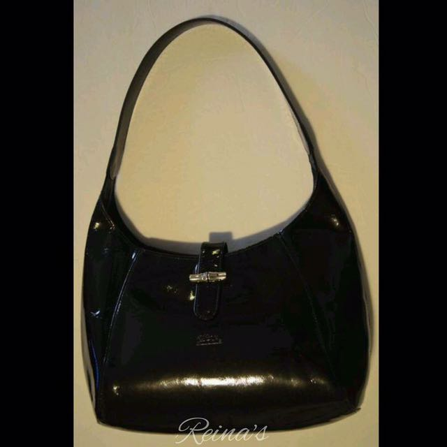 Longchamp Black Patent Roseou