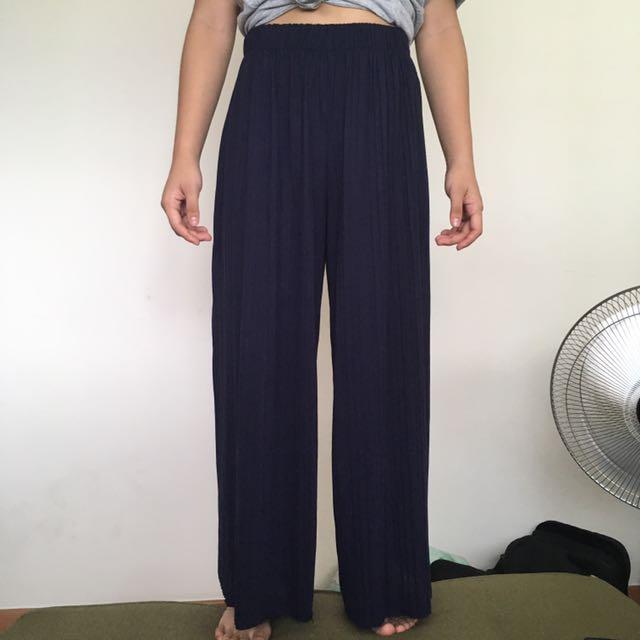 Micro Pleated Wide Leg Pants