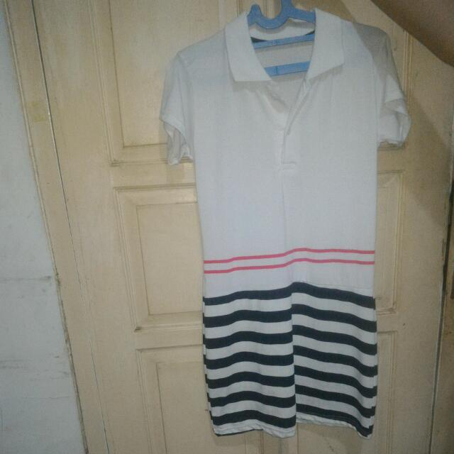 Mini Dress Bahan Kaos Putih
