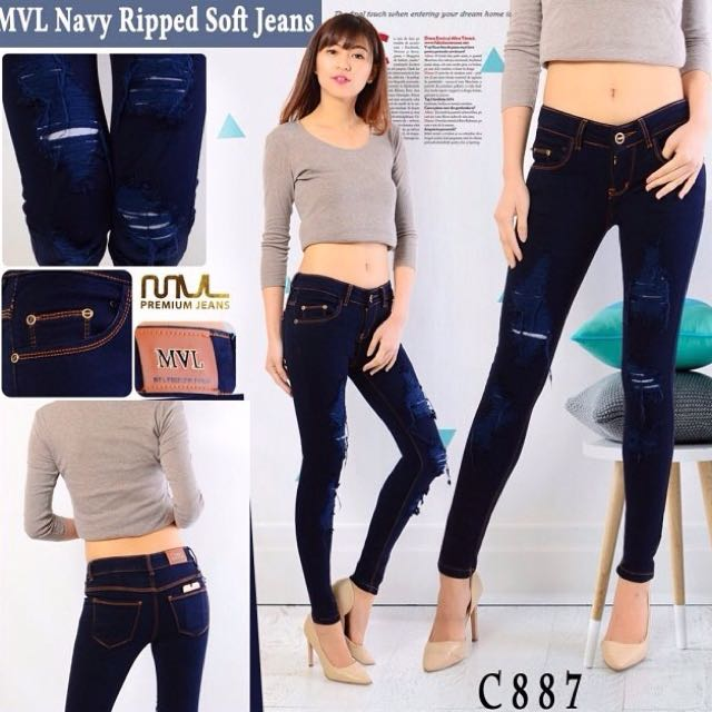 Navy Ripped Soft Jeans