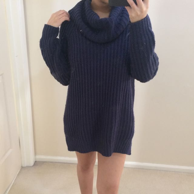 Navy Turtle Neck Dress Sweater