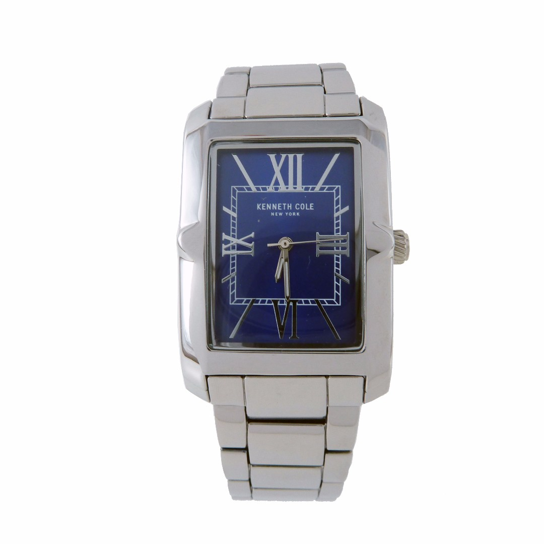 NEW AND AUTHENTIC KENNETH COLE 10031343 RECTANGULAR STAILESS STEEL BLUE DIAL