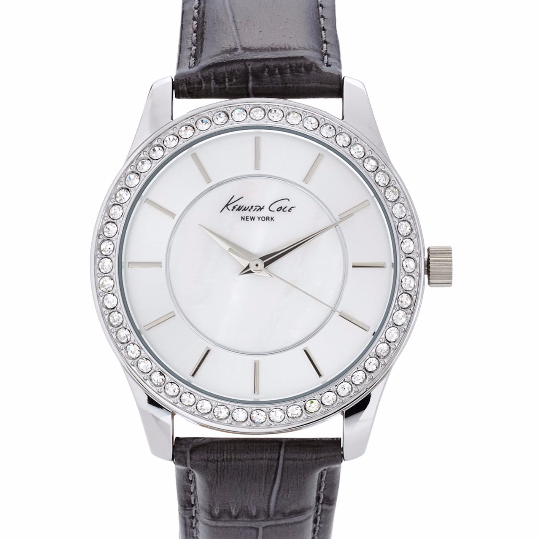 NEW AND AUTHENTIC KENNETH COLE NEW YORK 10019395 SILVER MOP DIAL W/ RHINESTONES