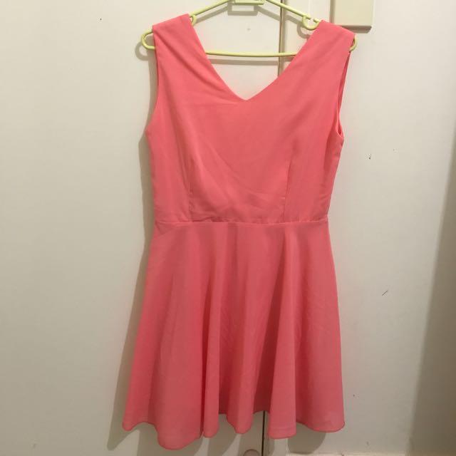 NEW Peach-pink Low Back Dress