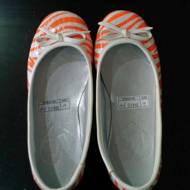Orange Flats Size 9