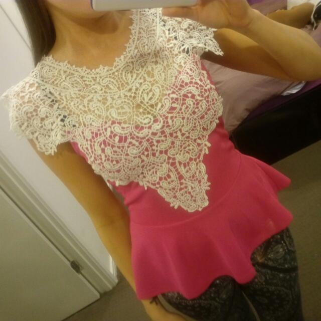 Pink Lacey Top