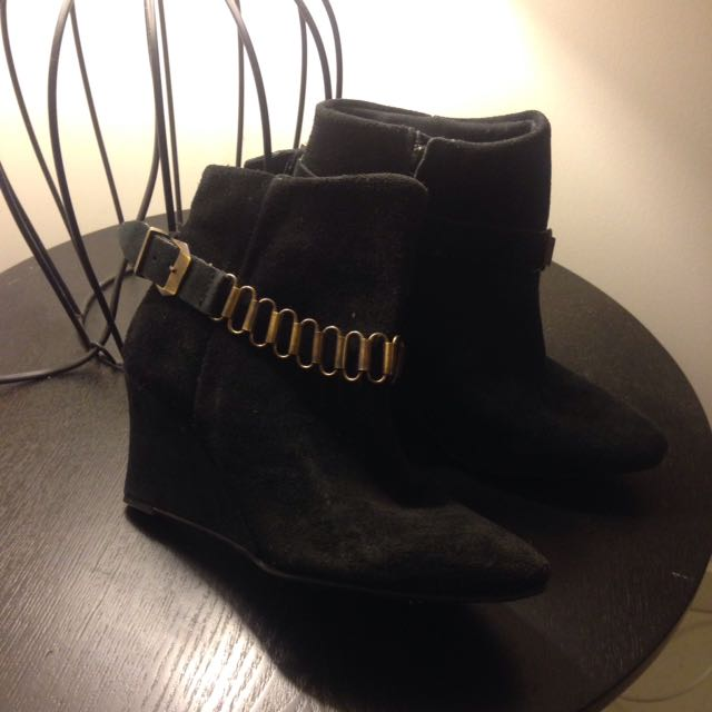 Promod Genuine Suede Wedged Heeled Ankle Boots Booties