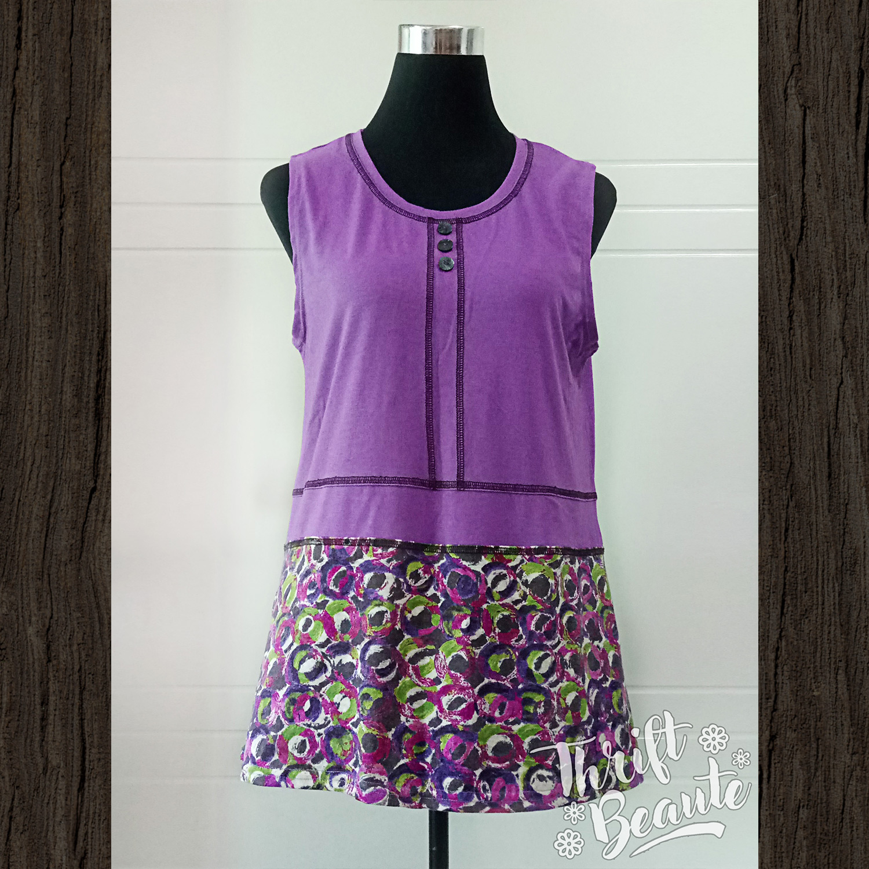 Purple With Print Skirt Tunic Dress