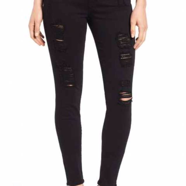 Ripped High Rise Black Jeggings