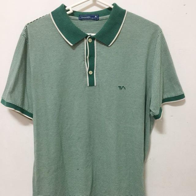 Sahara Polo Shirt Green Stripes (Size L)