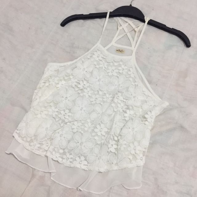 Strappy White Halter With Lace/Chiffon Detailing