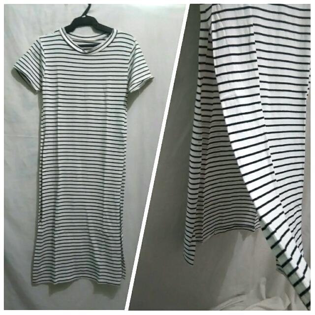 Striped Dress with Slit