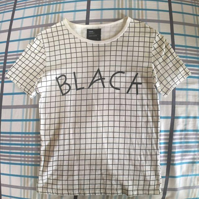 格子字母短袖T恤