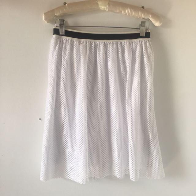 Topshop Mesh Knit Skirt w/ Sporty Trim