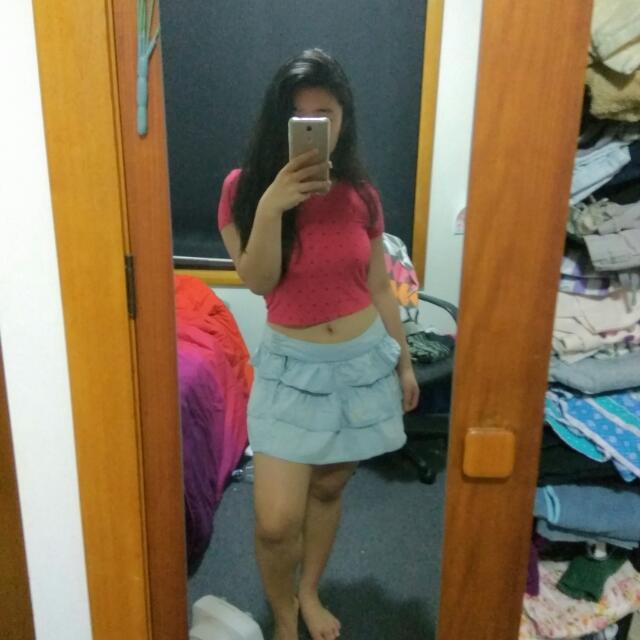 Vintage Layered Denim Skirt