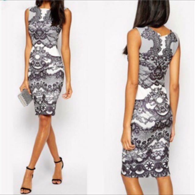 Vintage Print Dress (body-con)