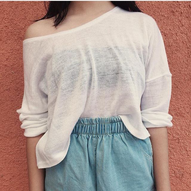 SALE! White Mesh Top (Cropped)
