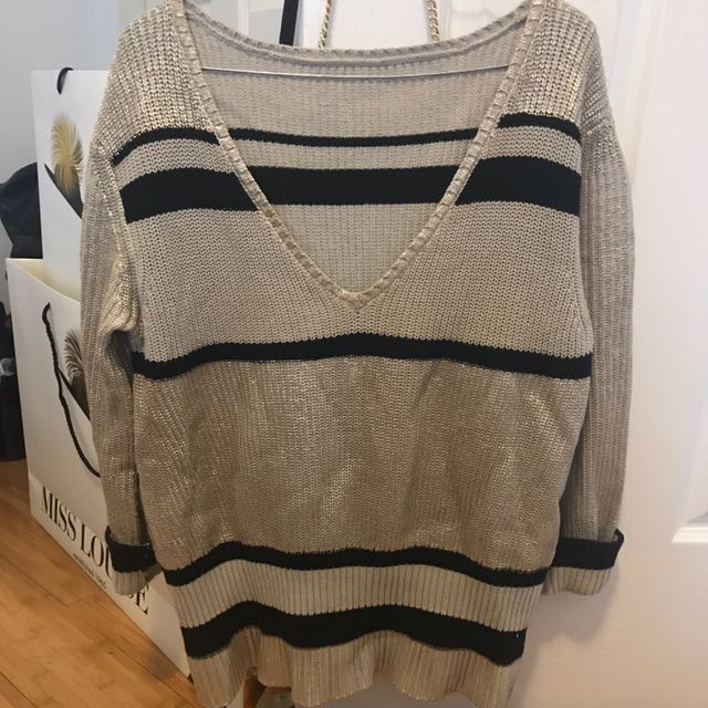 Witchery Gold Stripe Sweater Jumper
