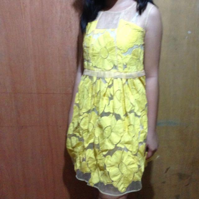 Yellow Mesh Dress