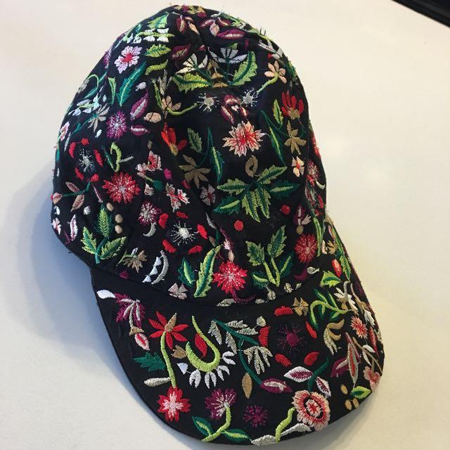 Zara Floral Embroidery Cap
