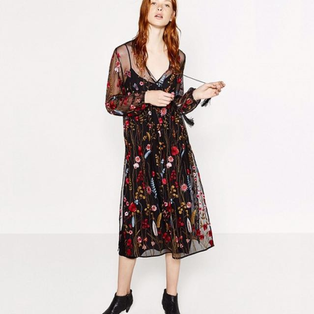 Zara Mesh Embroidered Dress