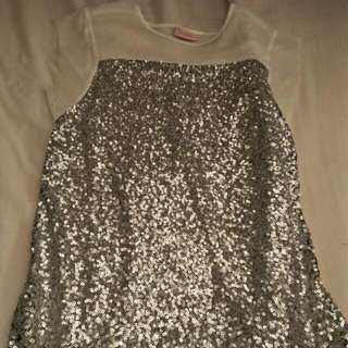 Blush Silver Sequenced Top