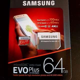 2017 Samsung Evo Plus New 64Gb microSD card