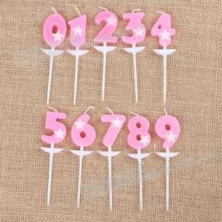 粉色星星數字生日蠟燭/生日蛋糕專用數字小蠟燭