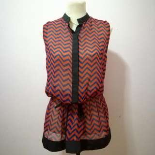 Sleeveless Chevron Chiffon Top