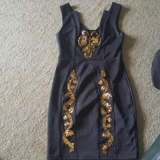Black And Gold Pagani Dress