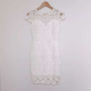 White Broderie Anglaise Embroidered Lace Dress Suze XS 6