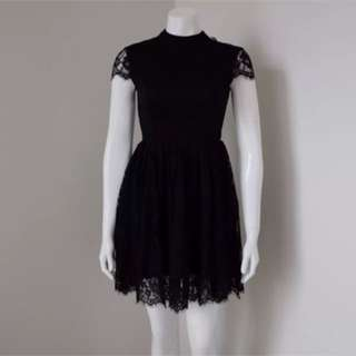 Black Lace Skater Dress Cocktail Party Mini Size XS